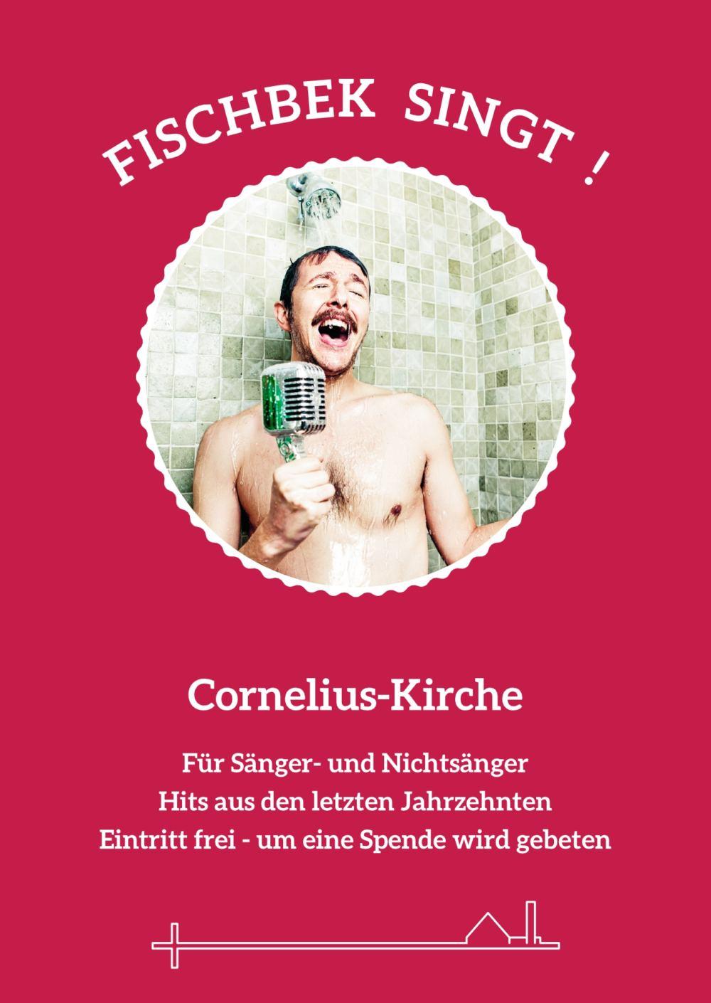 Plakatmotiv, junger Mann mit Mikrophon singt lauthals unter der Dusche.