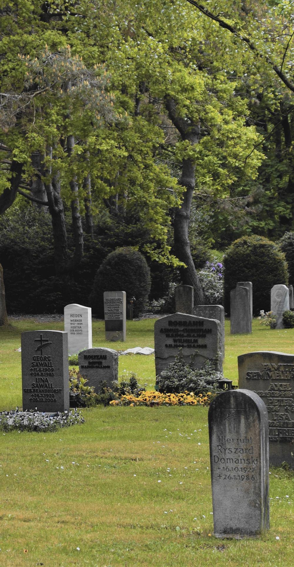 Friedhof, alte Bäume, Grabsteine