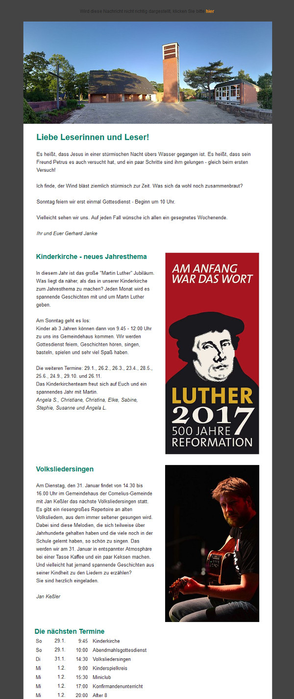 Screenshot eines Newsletters