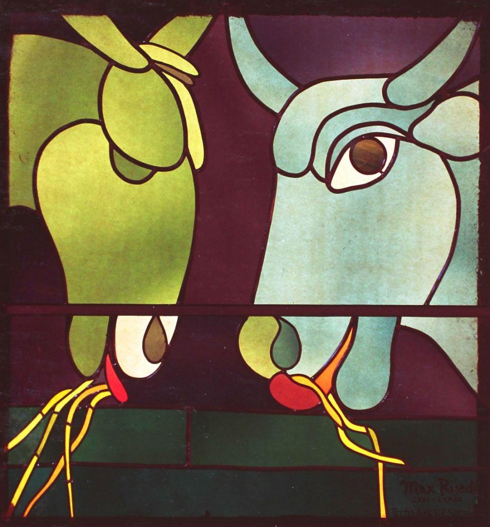 Ochs und Esel, Glasfenster von Max Rüedi