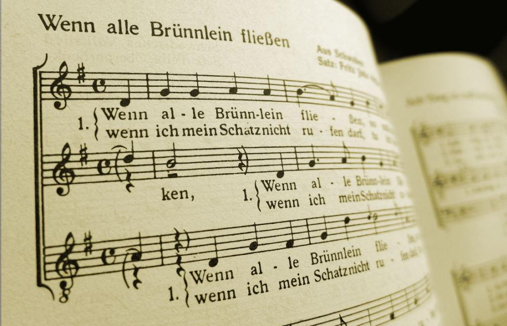 """Notenblatt """"Wenn alle Brünnlein fließen"""""""