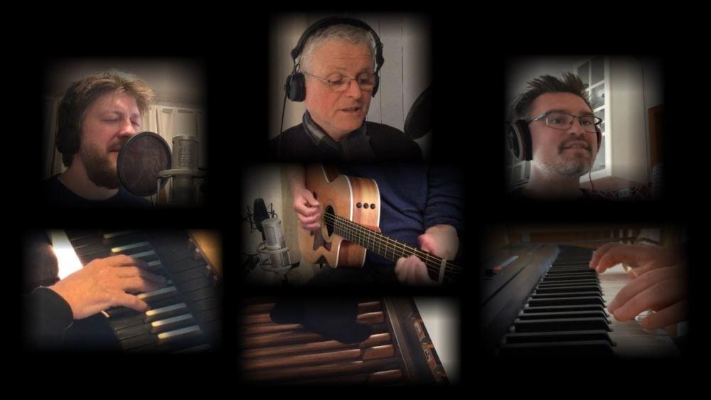 Screenshot vom Videos mit den drei Musikern Ulli Glaser (Thomaskirche Hausbruch), Jan Kehrberger (Michaelis-Kirche Neugraben) und Jan Keßler (Cornelius-Kirche Fischbek)